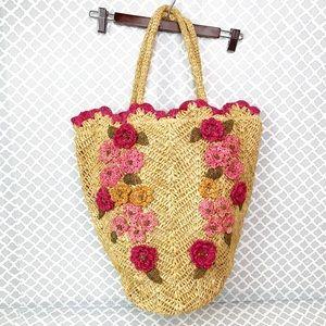 EUC Flora Bella Woven Floral Appliqué Straw Tote